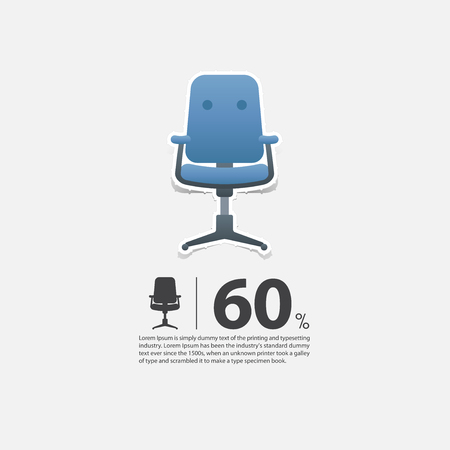 wood chair: Office chair in flat design for living room interior. Minimal icon for furniture sale poster. Blue chair on white background in paper art style. Vector Illustration.