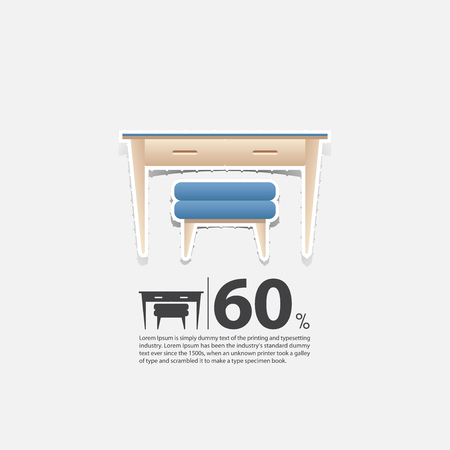 wood chair: Working desk and chair in flat design for office room interior. Minimal icon for furniture sale poster. Blue chair and wood table on white background in paper art style. Vector Illustration.