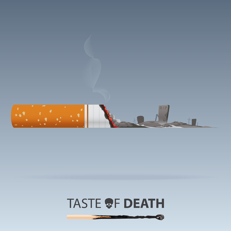 May 31st World No Tobacco Day. No Smoking Day Awareness. Graveyard form cigarette ashes. Stop Smoke Campaign. Vector. Illustration.