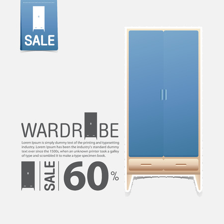 interior design home: Wardrobe in flat design for home interior. Minimal icon for furniture sale poster. Blue wardrobe on white background in paper art style. Vector Illustration. Illustration