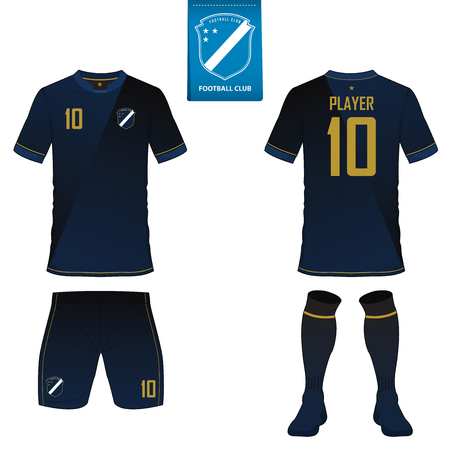Set of soccer kit or football jersey template for football club. Flat football logo on blue label. Front and back view soccer uniform. Vectores