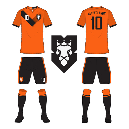 Set of soccer jersey or football kit template for Netherlands national football team. Front and back view soccer uniform. Sport shirt mock up. Vector Illustration