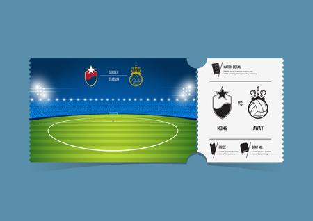 Diseño de la plantilla de entradas para el fútbol o partido de fútbol. Vales de regalo o cupones de certificados. Ilustración vectorial. Ilustración de vector