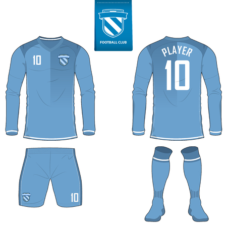 Set of soccer kit or football jersey template for football club. Long sleeve football shirt mock up. Front and back view soccer uniform. Flat football logo on blue label. Vector Illustration.