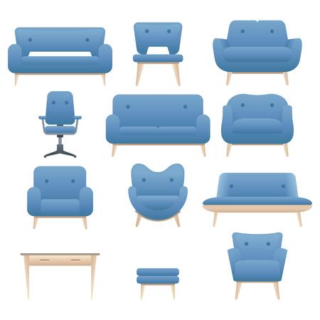 interior design home: Icon set of modern furniture chair armchair and sofa. Home interior design. Vector. Illustration Illustration