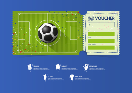 Tickets template design for football or soccer match gift vouchers tickets template design for football or soccer match gift vouchers or certificate coupons vector yelopaper Gallery