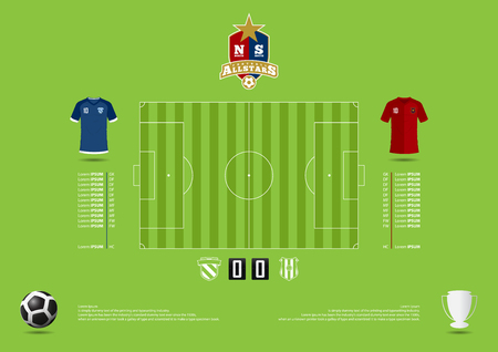 statics: Football or soccer match statics infographic. Football formation tactic. Football logo. Flat design. Vector Illustration.