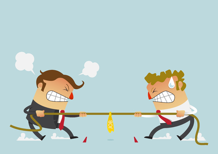 Businessman in career race. Two businessman fighting in the tug of war competition that could just define their careers. Cartoon character in flat design. Vector Illustration.