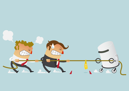 Businessman in career race. Two businessman fighting with robot in the tug of war competition that could just define their careers. Cartoon character in flat design. Vector Illustration.
