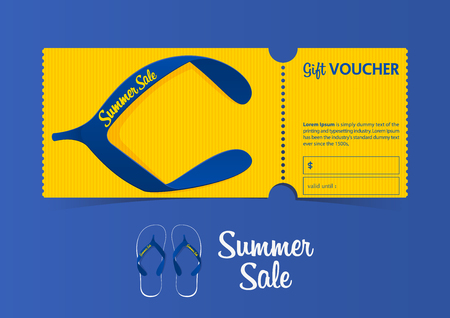 Discount gift vouchers template design for summer sale. Special offer or certificate coupons. Vector illustration.