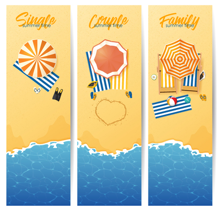 Banner set of Summer beach with turquoise rippled wave and umbrella beach in top view. Seascape background and sand texture. Vector Illustration.