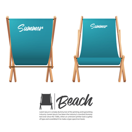 Isolated two turquoise summer beach chair in front and back view. Vector Illustration. Illustration