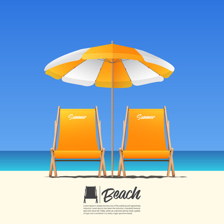 Two orange summer beach chair in front view and orange beach umbrella. Blue gradient sky background . Vector Illustration. Illustration