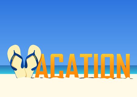 Vacation typography on blue gradient sky background . Flip Flops instead of the letter V in the word Vacation. Vector Illustration. Illustration