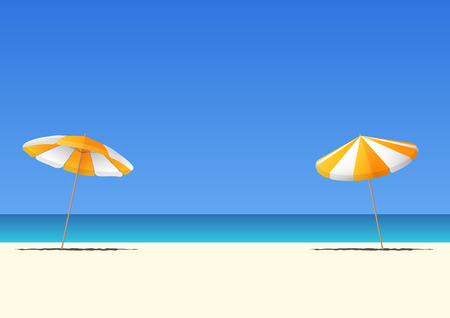 Summer beach and orange beach umbrella on blue gradient sky background  with copy space for your text.  Vector Illustration.