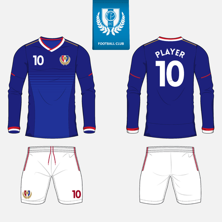 long socks: Set of long sleeve soccer jersey or football kit template for football club. Football shirt mock up. Front and back view soccer uniform. Flat football logo on blue label. Vector Illustration.