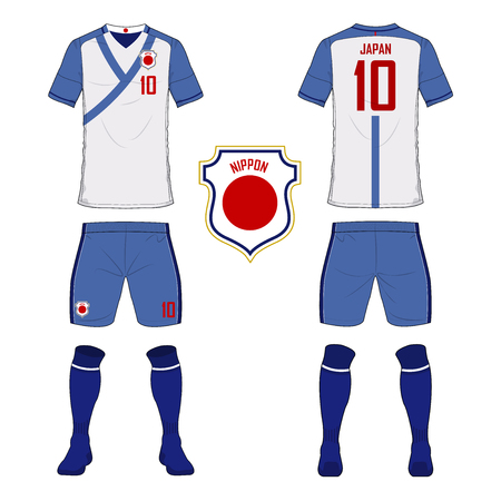 nippon: Set of soccer jersey or football kit template for Japan national football team. Front and back view soccer uniform. Sport shirt mock up. Vector Illustration