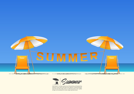 clothe: Summer beach landscape with orange beach chair, orange beach umbrella and summer typography hanging on a clothesline on blue gradient sky background  with copy space for your text.  Vector Illustration.