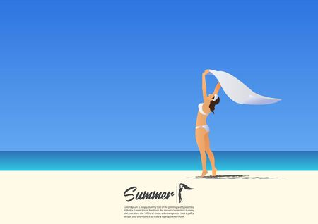 scarf beach: Happy girl in white bikini holding white scarf above her head on white sand beach while on summer vacation. Blue gradient sky background  with copy space for your text.  Vector Illustration. Illustration