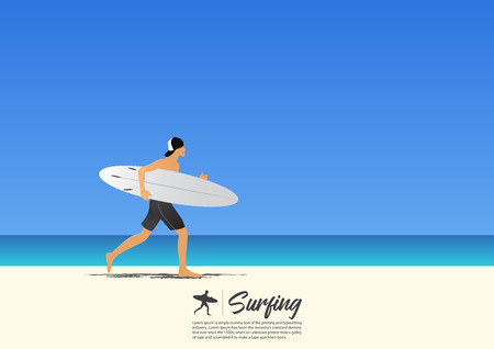 Yong surfer man carrying surfboard and running on white sand beach while on summer vacation. Blue gradient sky background  with copy space for your text.  Vector Illustration.