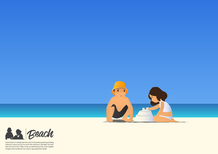 Happy little boy and cute little girl building sandcastle  on white sand beach while on summer vacation. Blue gradient sky background  with copy space for your text.  Vector Illustration.