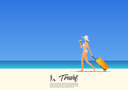 Beautiful sexy girl in bikini walking and holding her cabin case and coconut water on the summer beach. Illustration