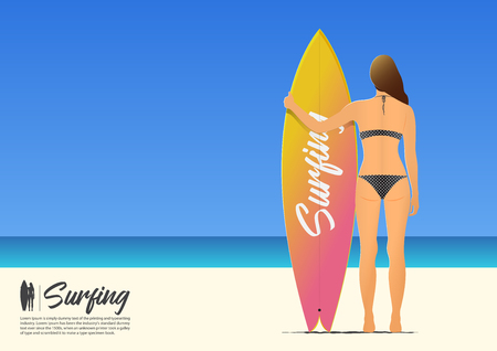 Rear view silhouette of beautiful sexy surfer girl in bikini holding her surfboard on the beach.