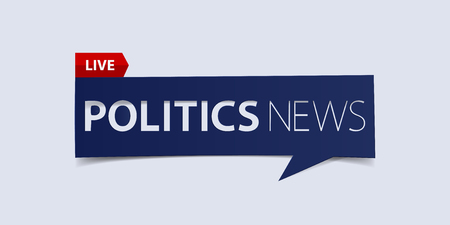 defuse: Politics news header isolated on white background. Breaking news Banner design template. Vector illustration. Illustration