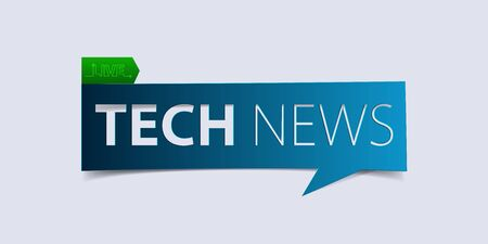 defuse: Technology news header isolated on white background. Breaking news Banner design template. Vector illustration.
