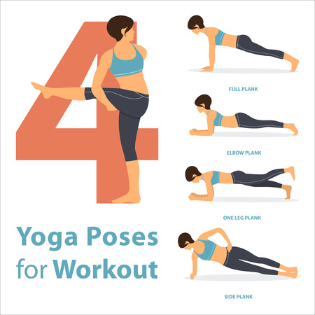A set of yoga postures female figures for Infographic 4 Yoga poses for workout in flat design. Vector Illustration.