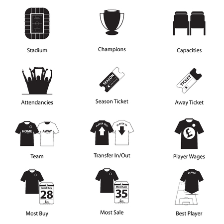 Icons set of football or soccer in flat design for football infographic. Vector Illustration. Illustration