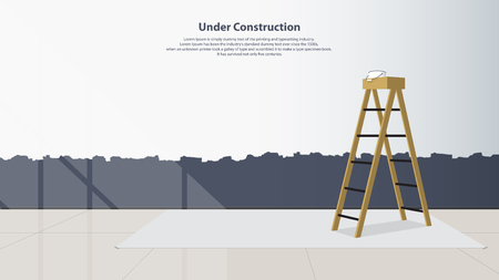 middle: Home interior design. The stairs are placed in the middle of the living room the wall was not finished painting. Flat design. Minimal style. Vector illustration.