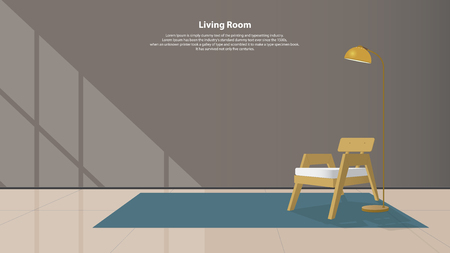 daybed: Home interior design with furniture. Modern living room with wood armchair, lamps and carpet in flat design. Minimal style. Vector illustration.