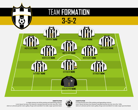 Football or soccer match formation infographic.