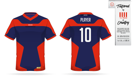 Sport t-shirt or soccer jersey template for sport club. Sportswear shirt mock up. Front view and back view of football uniform. Clothing label for apparel detail and size. Vector Illustration.