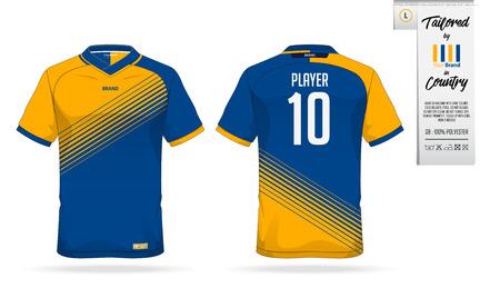 Sport T-Shirt oder Fußball Trikot Vorlage für Sportverein. Sportswear Shirt mock up. Vorderansicht und Rückansicht der Fußballuniform. Kleidungsetikett für Kleidungsdetails und -größe. Vektor-Illustration.