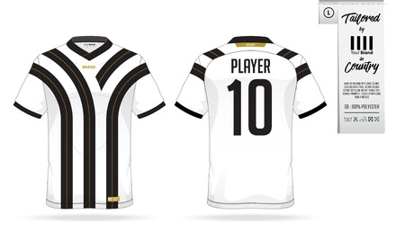 long socks: Sport t-shirt or soccer jersey template for sport club. Sportswear shirt mock up. Front view and back view of football uniform. Clothing label for apparel detail and size. Vector Illustration.