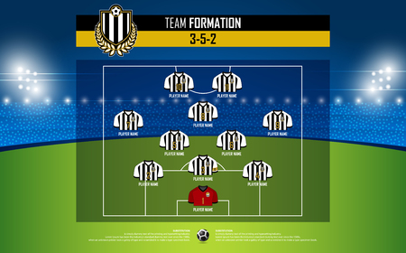 Football or soccer match formation infographic. Soccer jersey and football player position on football pitch. Football logo in flat design. Vector Illustration.