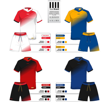 Set of soccer jersey or football kit and short pant template for sportswear catalog. Sportswear shirt mock up. Front view of sportswear uniform. Clothing label for apparel detail. Vector Illustration.