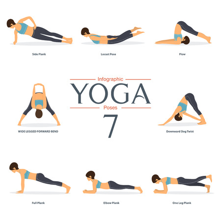 Set of 8 yoga poses in flat design . Woman figures in sportswear for yoga infographics. Vector Illustration.
