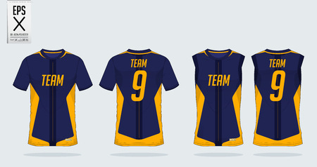 T-shirt sport design template for soccer jersey, football kit and tank top for basketball jersey. T-shirt uniform in front view and back view. Sportswear t shirt mock up for sport club. Vector Illustration.