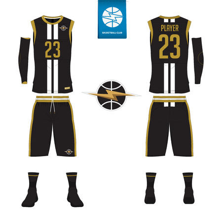 Basketball jersey, shorts, socks template for basketball club. Front and back view sport uniform. Tank top t-shirt mock up with basketball flat logo design on label. Vector Illustration. Ilustração