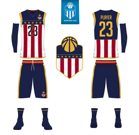 Basketball jersey, shorts, socks template for basketball club. Front and back view sport uniform. Tank top t-shirt mock up with basketball flat logo design on label. Vector Illustration. Illustration