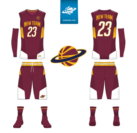 Basketball jersey, shorts, socks template for basketball club. Front and back view sport uniform. Tank top t-shirt mock up with basketball flat logo design on label. Vector Illustration.  イラスト・ベクター素材