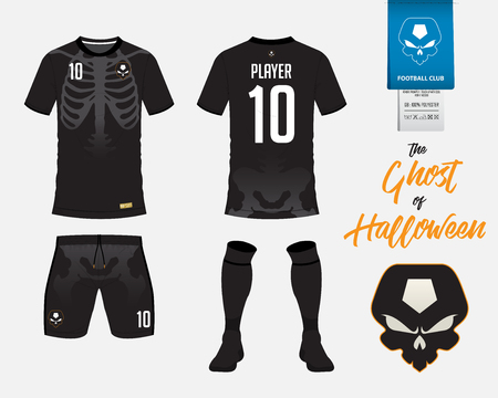 Soccer jersey or football kit template in Skeleton in Halloween concept. Football t shirt mock up. Front and back view soccer uniform. Football logo on label in flat design. Vector Illustration.