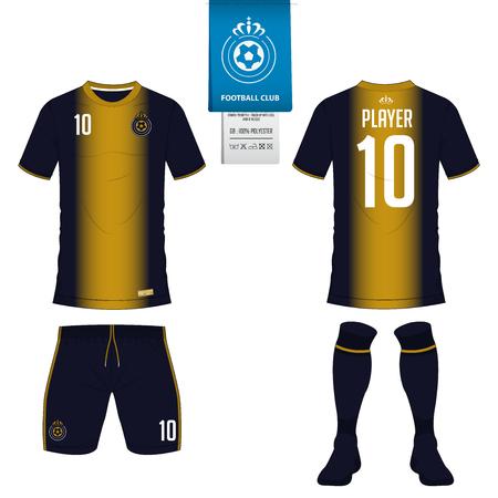 Soccer jersey or football kit, short, sock template for sport club. Illustration