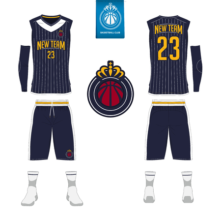 Basketball jersey, shorts, socks template for basketball club. Front and back view sport uniform. Stok Fotoğraf - 86636728