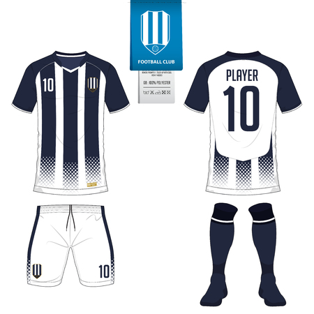 Soccer jersey or football kit, short, sock template for sport club. Football t-shirt mock up. Çizim