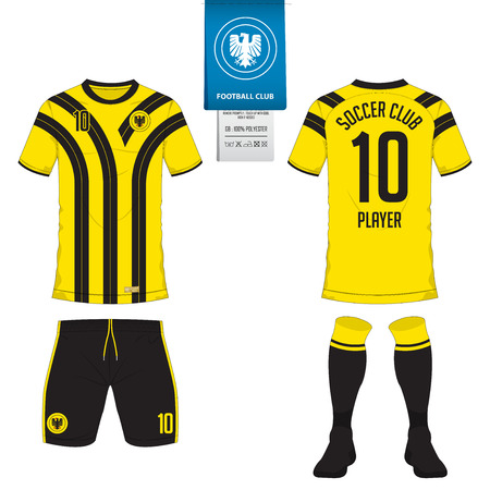 Maillot de football ou kit de football, modèle de chaussette court pour club de sport. T-shirt de football mock up. Uniforme de soccer avant et arrière. Logo de football plat sur l'étiquette bleue. Illustration vectorielle