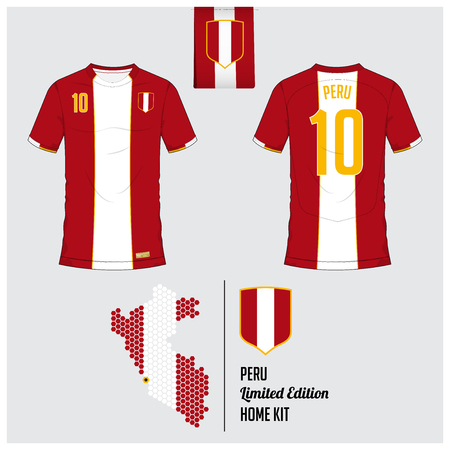 Soccer jersey or football kit, template for Peru National Football Team. Front and back view soccer uniform. Flat football logo on Peru flag label and map in hexagon pattern. Vector Illustration. Vectores